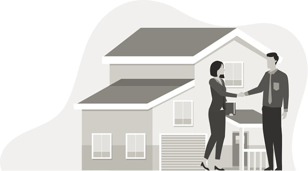 Picture of a house with a Realtor and woman shaking hands