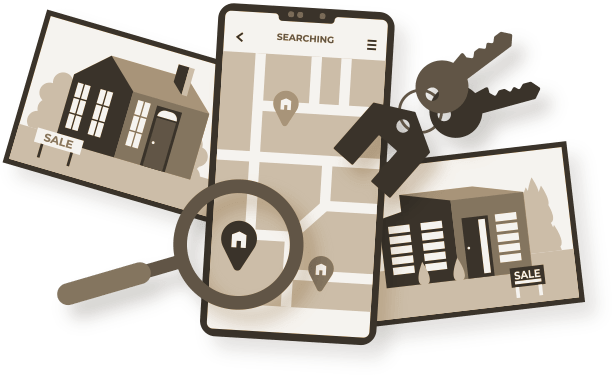 Picture of a cellphone with an app to find houses in Orlando