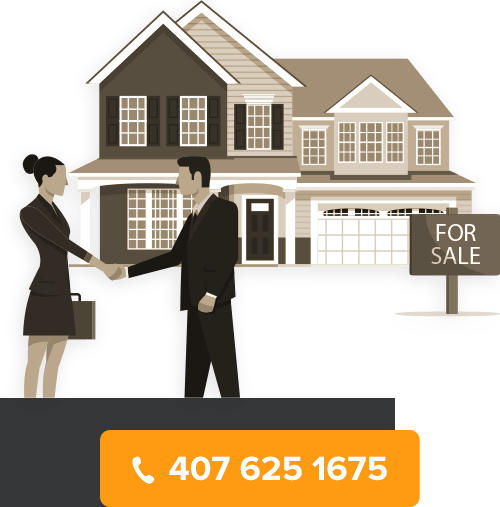 Picture of a Realtor shaking hands with a client with a house for sale on the background